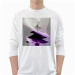 Purple Christmas Tree White Long Sleeve T-Shirts Front