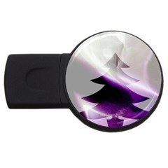 Purple Christmas Tree Usb Flash Drive Round (4 Gb)  by yoursparklingshop