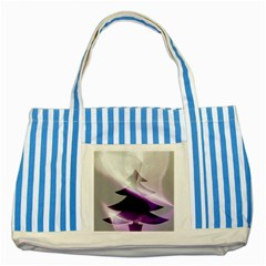 Purple Christmas Tree Striped Blue Tote Bag by yoursparklingshop