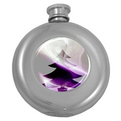 Purple Christmas Tree Round Hip Flask (5 Oz) by yoursparklingshop