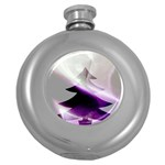 Purple Christmas Tree Round Hip Flask (5 oz) Front
