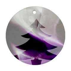 Purple Christmas Tree Round Ornament (two Sides)