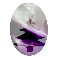 Purple Christmas Tree Oval Ornament (two Sides) by yoursparklingshop