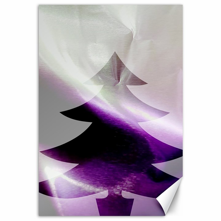 Purple Christmas Tree Canvas 12  x 18
