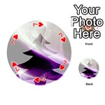 Purple Christmas Tree Playing Cards 54 (Round)  Front - Heart7