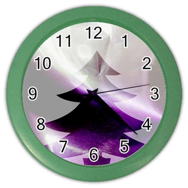 Purple Christmas Tree Color Wall Clocks
