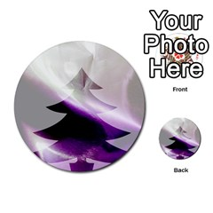 Purple Christmas Tree Multi Purpose Cards (round)  by yoursparklingshop
