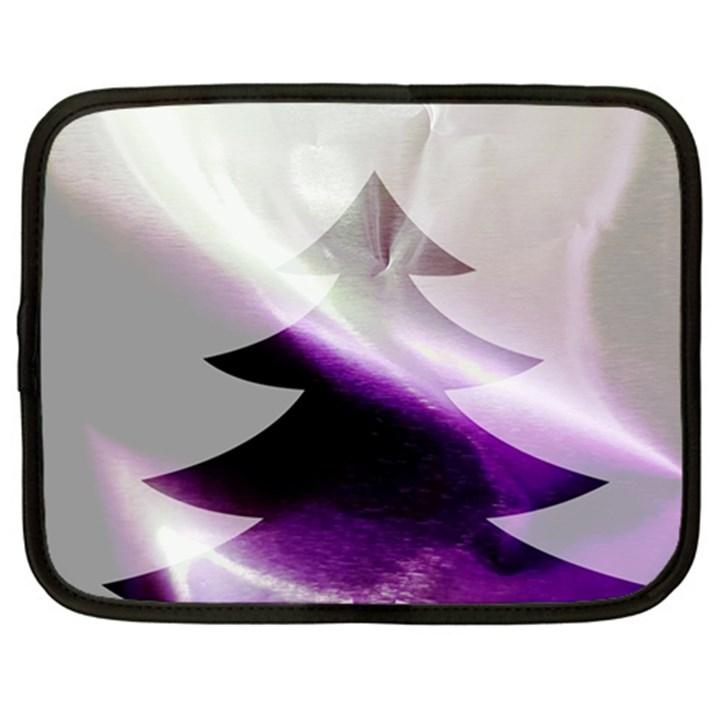 Purple Christmas Tree Netbook Case (Large)