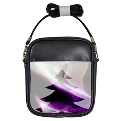 Purple Christmas Tree Girls Sling Bags by yoursparklingshop