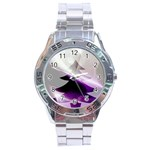 Purple Christmas Tree Stainless Steel Analogue Watch Front