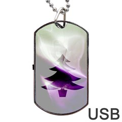 Purple Christmas Tree Dog Tag Usb Flash (one Side) by yoursparklingshop