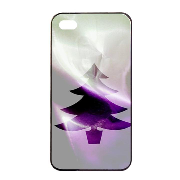 Purple Christmas Tree Apple iPhone 4/4s Seamless Case (Black)