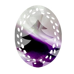 Purple Christmas Tree Oval Filigree Ornament (2 Side)