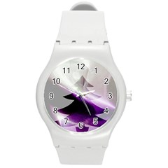 Purple Christmas Tree Round Plastic Sport Watch (m)