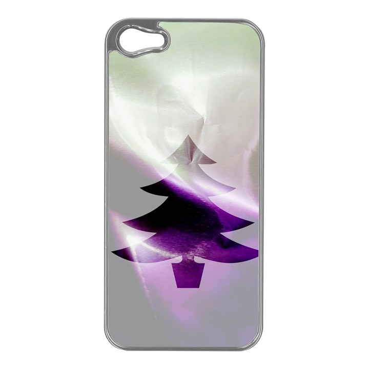 Purple Christmas Tree Apple iPhone 5 Case (Silver)