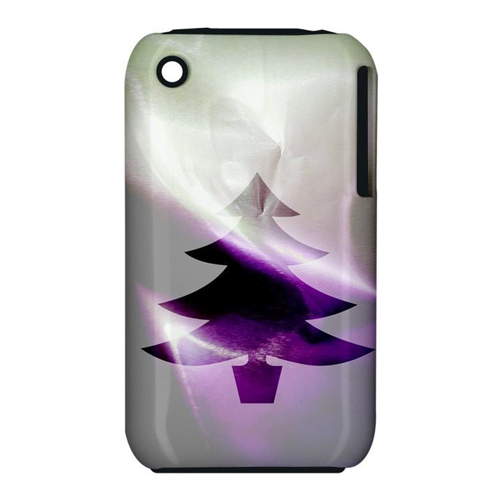 Purple Christmas Tree Apple iPhone 3G/3GS Hardshell Case (PC+Silicone)