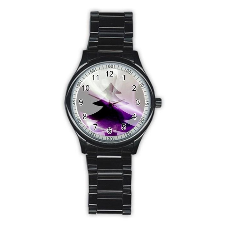 Purple Christmas Tree Stainless Steel Round Watch