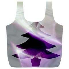 Purple Christmas Tree Full Print Recycle Bags (l)