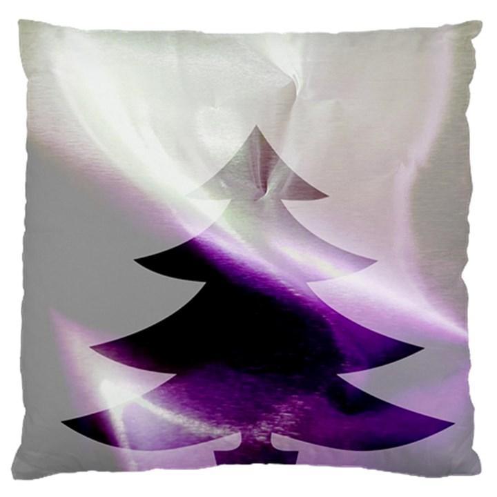 Purple Christmas Tree Large Flano Cushion Case (Two Sides)
