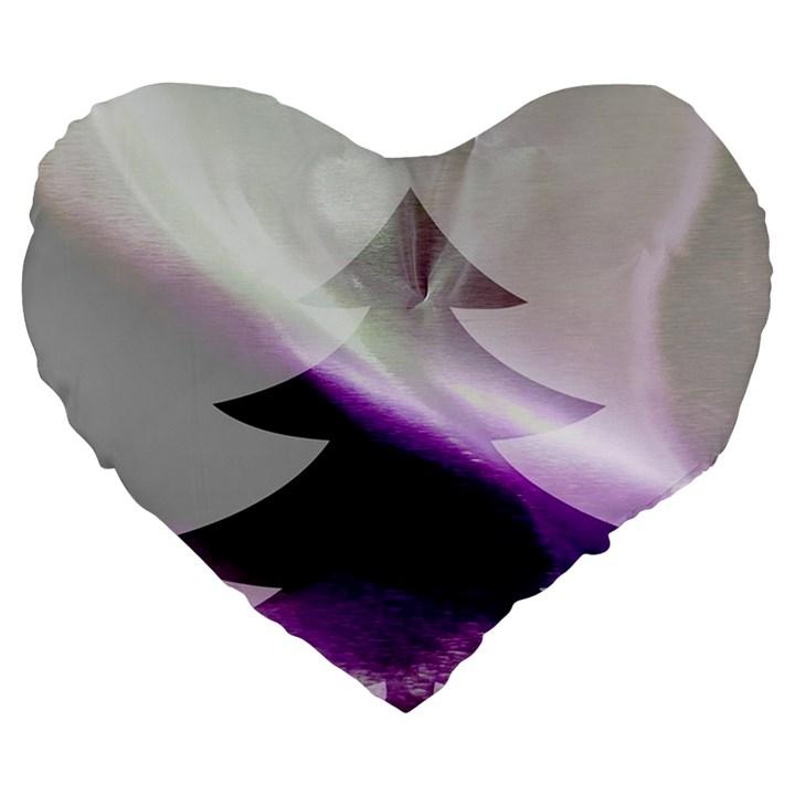 Purple Christmas Tree Large 19  Premium Flano Heart Shape Cushions