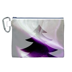 Purple Christmas Tree Canvas Cosmetic Bag (l) by yoursparklingshop