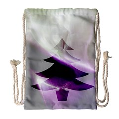 Purple Christmas Tree Drawstring Bag (large) by yoursparklingshop