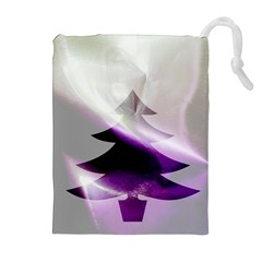 Purple Christmas Tree Drawstring Pouches (extra Large) by yoursparklingshop