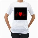 Hart bit Women s T-Shirt (White) (Two Sided)