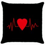 Hart bit Throw Pillow Case (Black)