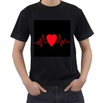 Hart bit Men s T-Shirt (Black) (Two Sided)