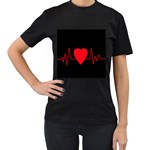 Hart bit Women s T-Shirt (Black) (Two Sided)