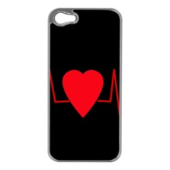 Hart Bit Apple Iphone 5 Case (silver) by Valentinaart