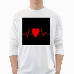 Hart Bit White Long Sleeve T Shirts