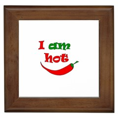I Am Hot  Framed Tiles by Valentinaart