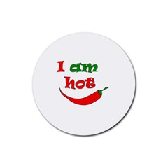 I Am Hot  Rubber Round Coaster (4 Pack)