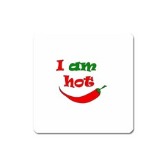 I Am Hot  Square Magnet by Valentinaart