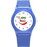 I am hot  Round Plastic Sport Watch (S) Front