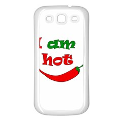 I Am Hot  Samsung Galaxy S3 Back Case (white) by Valentinaart