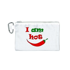 I Am Hot  Canvas Cosmetic Bag (s) by Valentinaart