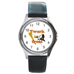 Twerk Or Treat   Funny Halloween Design Round Metal Watch by Valentinaart