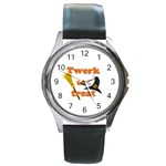 Twerk or treat - Funny Halloween design Round Metal Watch