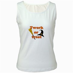 Twerk Or Treat   Funny Halloween Design Women s White Tank Top