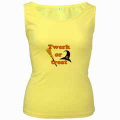 Twerk Or Treat   Funny Halloween Design Women s Yellow Tank Top