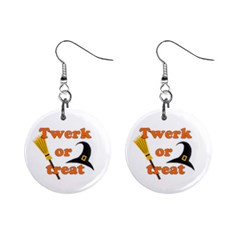 Twerk Or Treat   Funny Halloween Design Mini Button Earrings by Valentinaart