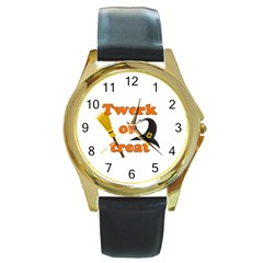 Twerk Or Treat   Funny Halloween Design Round Gold Metal Watch by Valentinaart