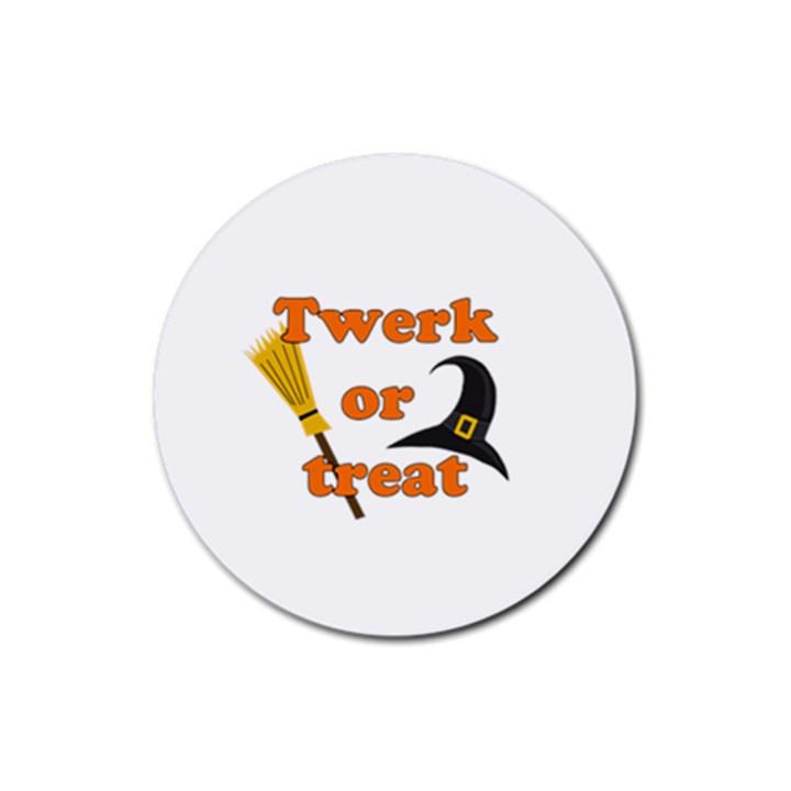 Twerk or treat - Funny Halloween design Rubber Coaster (Round)