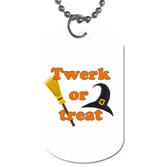 Twerk Or Treat   Funny Halloween Design Dog Tag (one Side) by Valentinaart