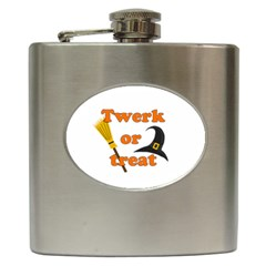 Twerk Or Treat   Funny Halloween Design Hip Flask (6 Oz) by Valentinaart