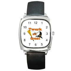 Twerk Or Treat   Funny Halloween Design Square Metal Watch by Valentinaart