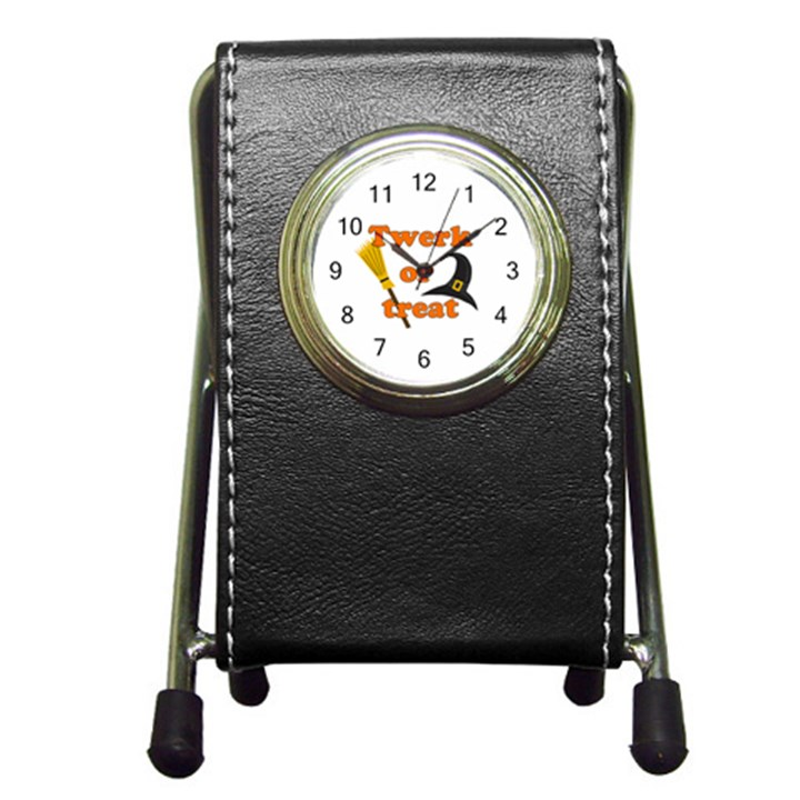 Twerk or treat - Funny Halloween design Pen Holder Desk Clocks